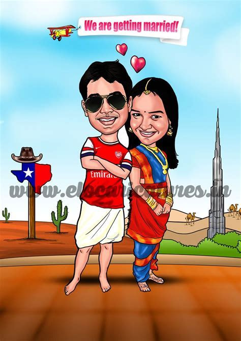 Indian Wedding Caricature! Arsenal FC and Texas Theme
