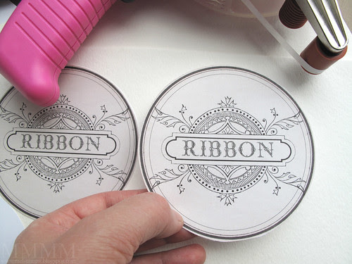Step 5) Adhere label fronts to watercolour paper or other sturdy cardstock