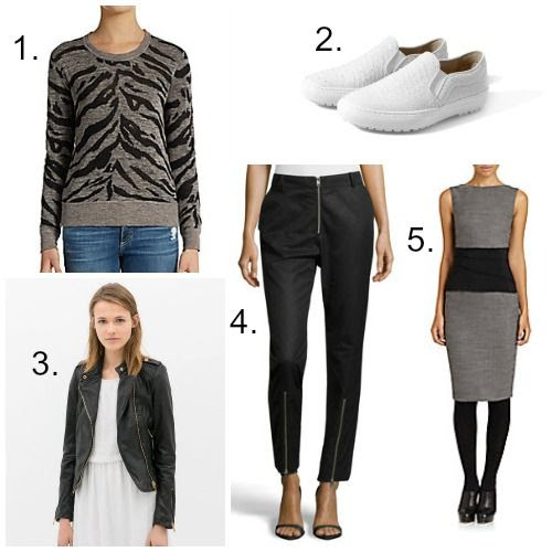 Rebecca Taylor Sweater - Zara Embossed Leather Shoes - Zara Biker Jacket - McQ Trousers - Akris Punto Dress