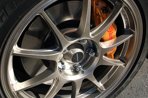 WedsSport TC105N wheels on a Subaru WRX STI