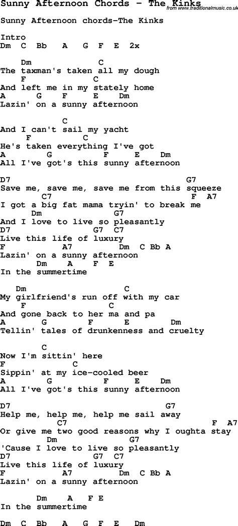 kinks sunny afternoon lyrics