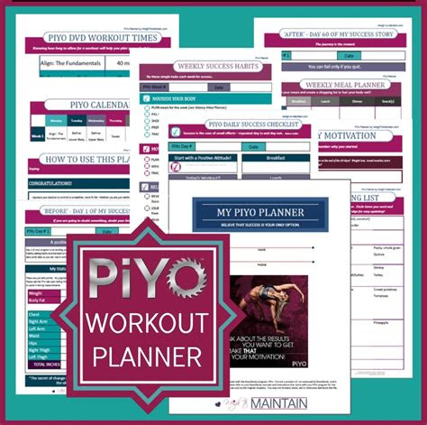 piyo planner printable  planner   piyo workout