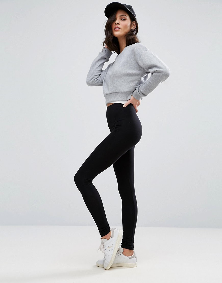 Image 1 of ASOS High Waisted Leggings In Black