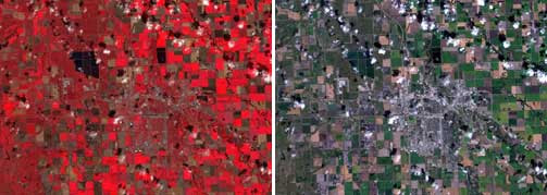 Farmers in the upper Midwest use false-color, left, Landsat images like this one captured over Grand Forks, N.D. August 30, 2005 to evaluate the health of their fields. The image on the right shows the same land area in true color as the natural eye would see.