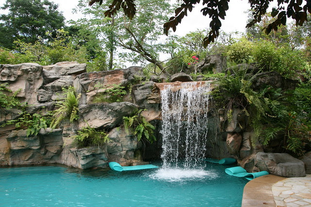 Let the waterfall caress you in the float pool as you lie on the float mats