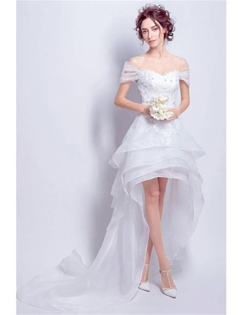Best Off Shoulder High Low Wedding Dresses Ruffles With