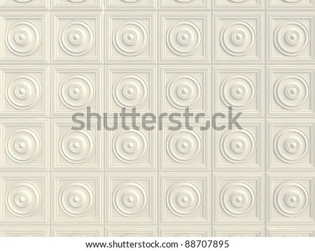 Wall Decorated With Plaster Molding And Decor. Stock Photo ...