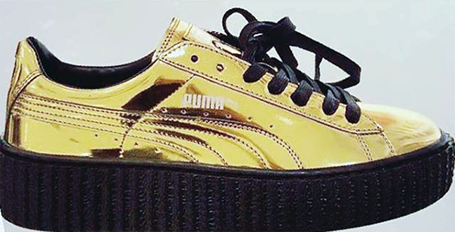 Image result for RIHANNA WEARING GOLD PUMA CREEPER SHOES
