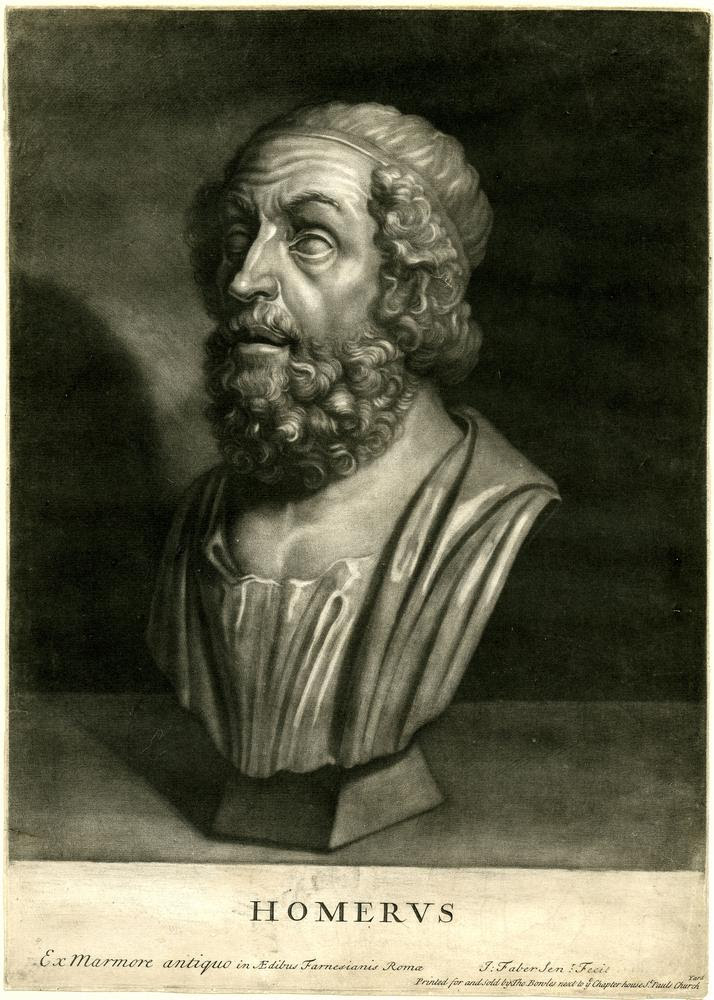 Portrait bust of Homer, after the antique in the Farnese collection in Rome (now Naples).  1715/21  Mezzotint