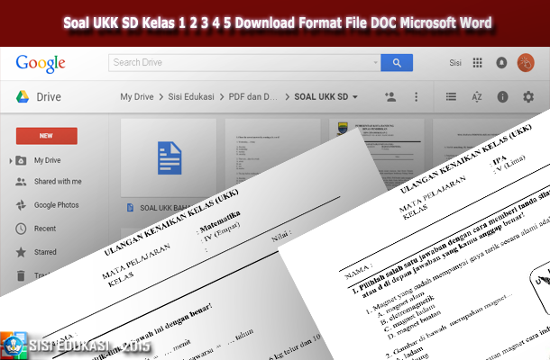 Soal UKK SD Kelas 1 2 3 4 5 Download Format File DOC Microsoft Word