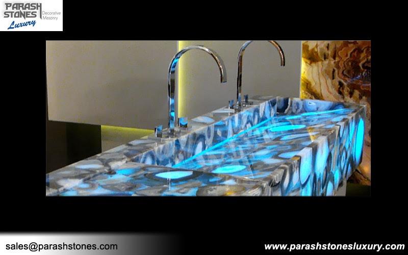grey agate washbasin backlit