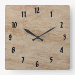 Beige Marble Square Wallclock