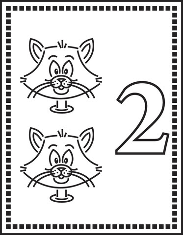 Dibujo De Número 2 O Dos Gatos Para Colorear Dibujos Para Colorear