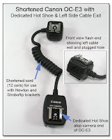 OC1018: Shortened Canon OC-E3 with Dedicated Hot Shoe & Left Side Cable Exit