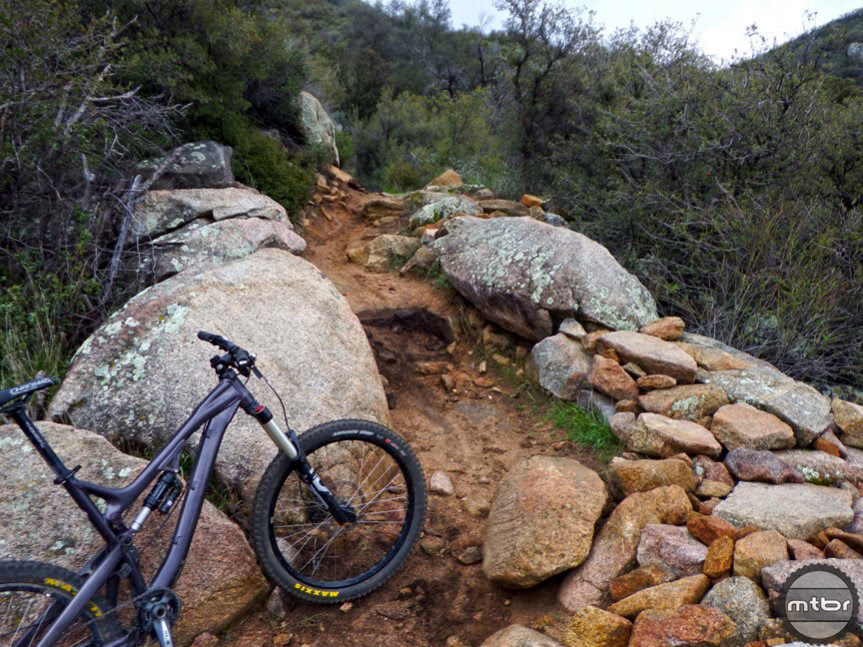 A rock ramp on the right was built in Noble Canyon Trail.