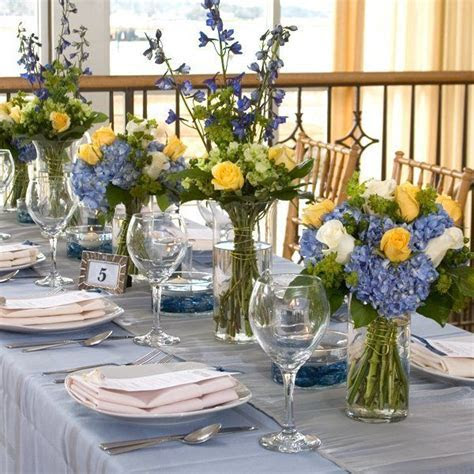 blue yellow centerpiece   yellow and blue centerpieces