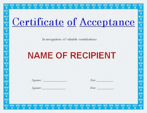 Generic Certificate of Acceptance