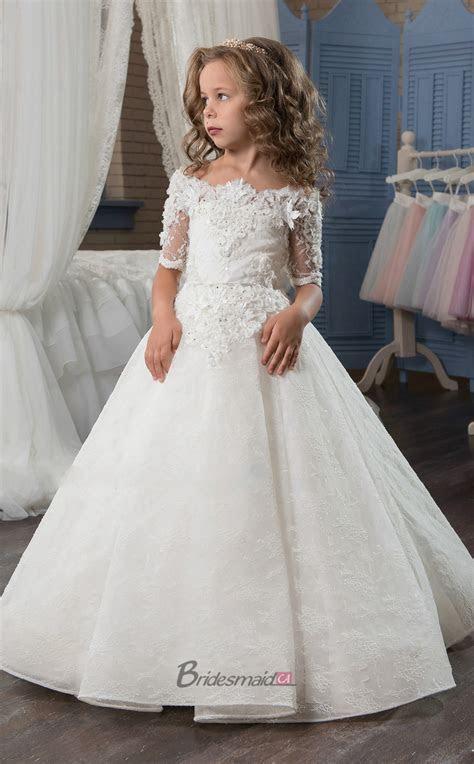 Satin , Lace Princess off the shoulder Half Sleeve Dresses