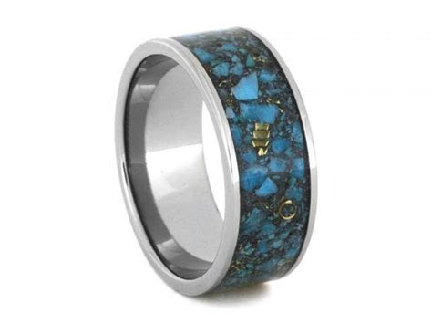 14k Yellow Gold And Crushed Turquoise Wedding Band, Unique