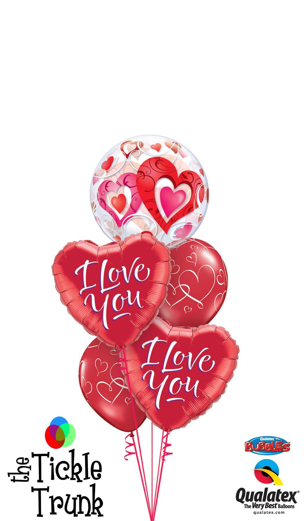 I Love You Heart Bubble Balloon Bouquet Onlineweddingstore