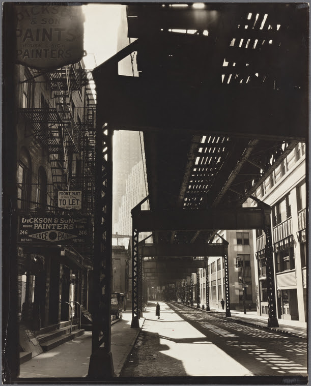 'El': 2nd  & 3rd Avenue lines, looking W. from Second & Pearl St.,  Manhattan.