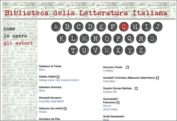 http://www.letteraturaitaliana.net/autori/g.htm