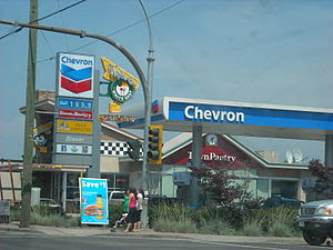 A Chevron Station with a White Spot inside of ...
