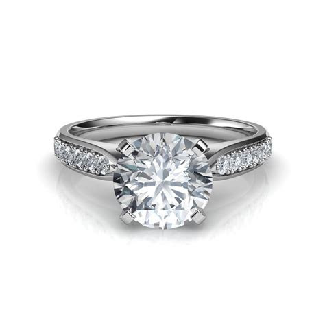 Tapered Cathedral Round Cut Diamond Engagement Ring