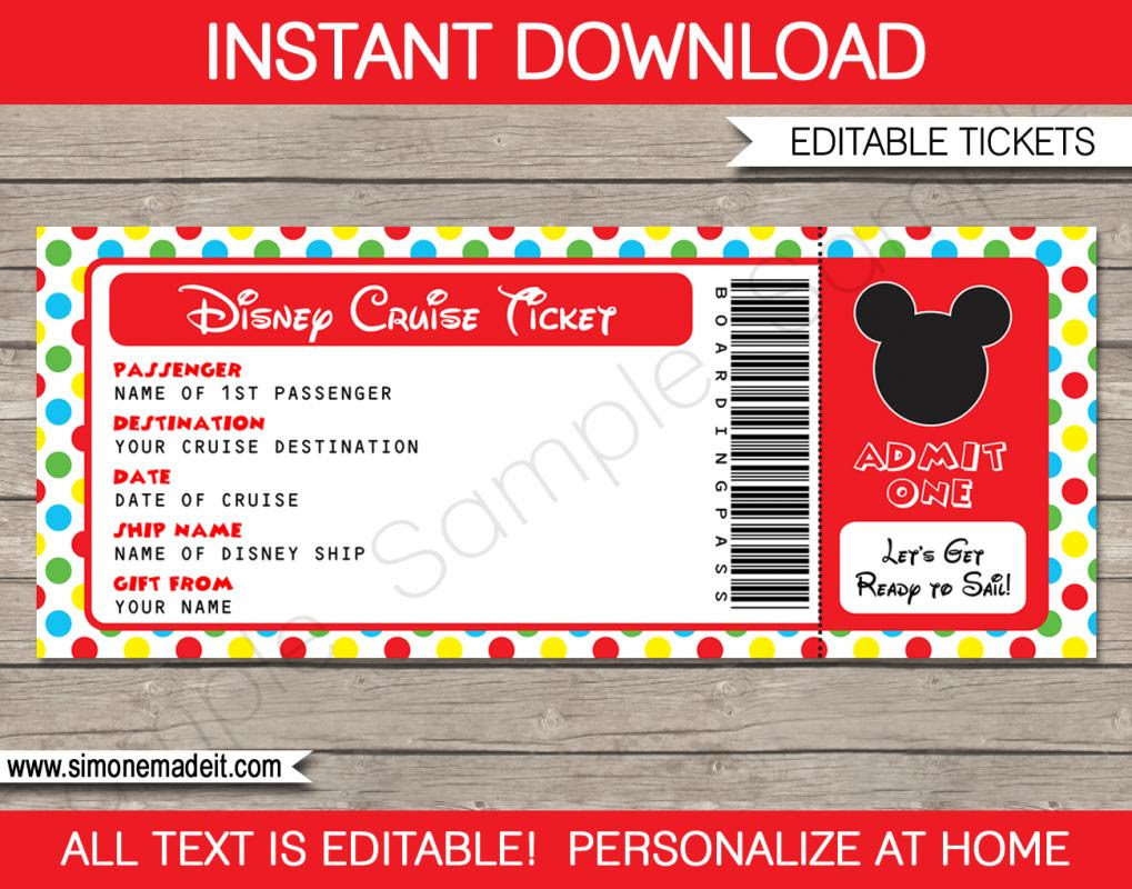 disney world itinerary template disney cruise ticket boarding pass printable gift mickey mouse