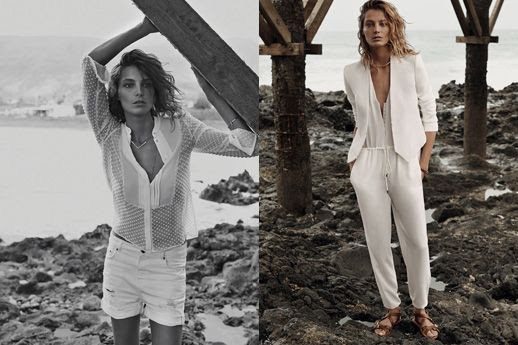 LE FASHION BLOG DARIA WERBOWY MANGO SPRING 2014 CAMPAIGN SHEER DOTTED WHITE BUTTON DOWN TOPS SHIRTS WHITE DISTRESSED BOYFRIEND JEAN SHORTS DENIM  CROPPED WHITE BLAZER JACKET SIMPLE WHITE JUMPSUIT FLAT BROWN SANDALS 8 photo LEFASHIONBLOGDARIAWERBOWYMANGOSPRING2014CAMPAIGN8.jpg