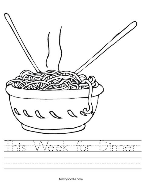 This Week for Dinner Worksheet - Twisty Noodle
