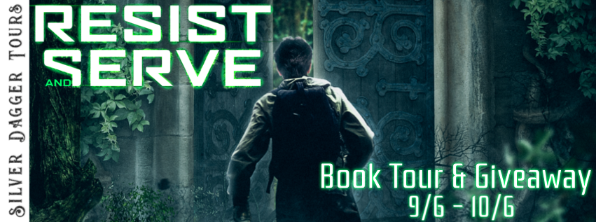 Book Tour Banner for scifi dystopian adventure Resist and Serve by Sean Caissie  with a Book Tour Giveaway
