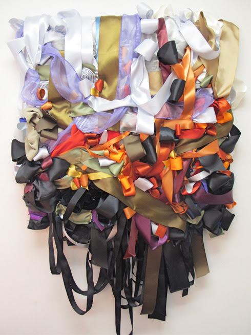 xlamb:  Vadis Turner, Forest Fire, 2011, Clothing, ribbon, horse prize ribbons, mixed media,  50 x 36 x 6 in / 127 x 91.4 x 15.2cm Exhibition,Lyons Wier Gallery, New York, April 7 - May 7, 2011 OH MY GOD.