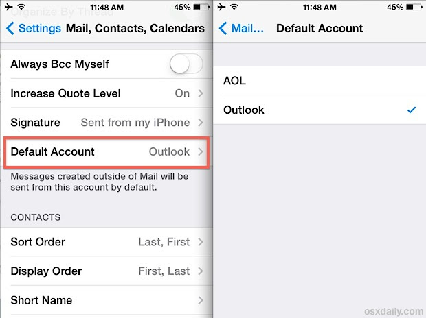 Change the default Mail account in iOS Mail app on iPhone, iPad, and iPod touch