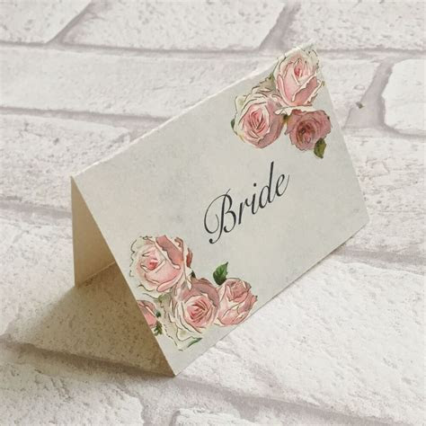Wedding Table Guest Place Name Cards   Pink rose Vintage