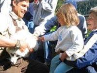 Children at petting zoo