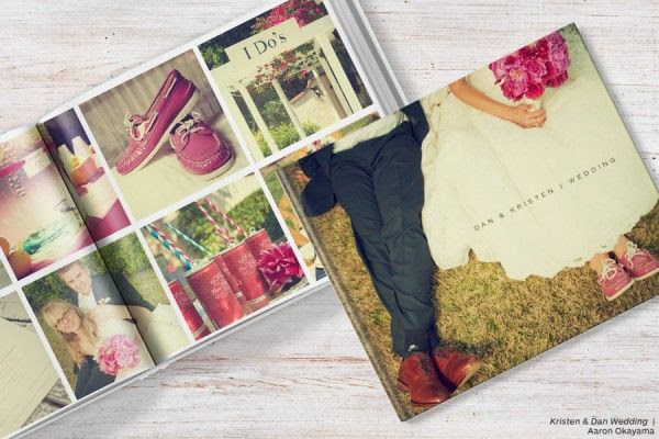 Blurb lets you print a hardcover book for pretty cheap. Great for the wedding album, especially since they have a template for designers!