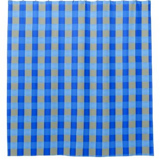 Blue-Checked Shower Curtain