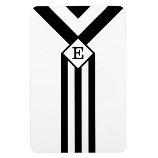 Black Stripes and Chevrons with Monogram on White Rectangular Photo Magnet