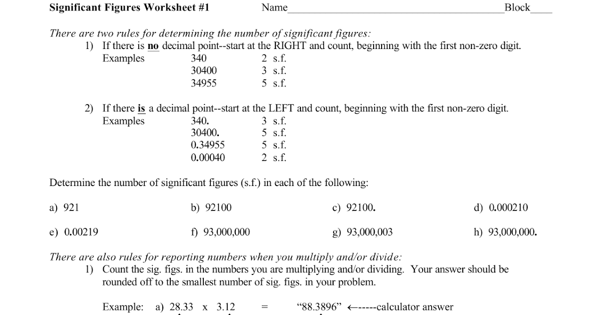 Nidecmege: Significant Figures Worksheet 1