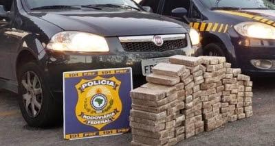 Homem é preso na BR-116 com 100kg de maconha em carro roubado