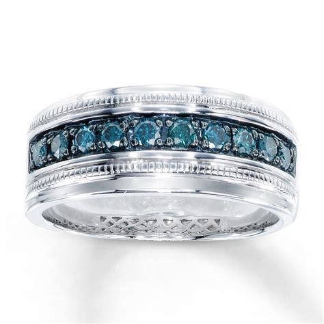 Men's Blue Diamond Ring 1/2 ct tw Round cut Sterling