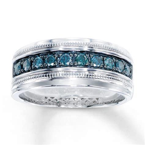 Men's Blue Diamond Ring 1/2 ct tw Round cut Sterling