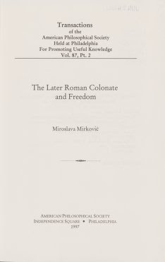 The later Roman Colonate and freedom