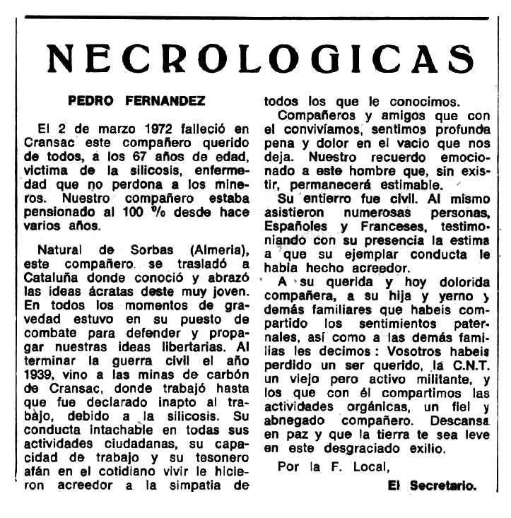 """Necrològica de Pedro Fernández apareguda en el periòdic tolosà """"Espoir"""" del 10 de setembre de 1972"""