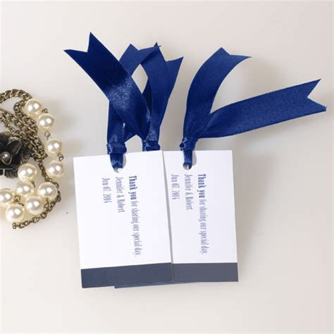 navy blue wedding favor tag thank you card with ribbon