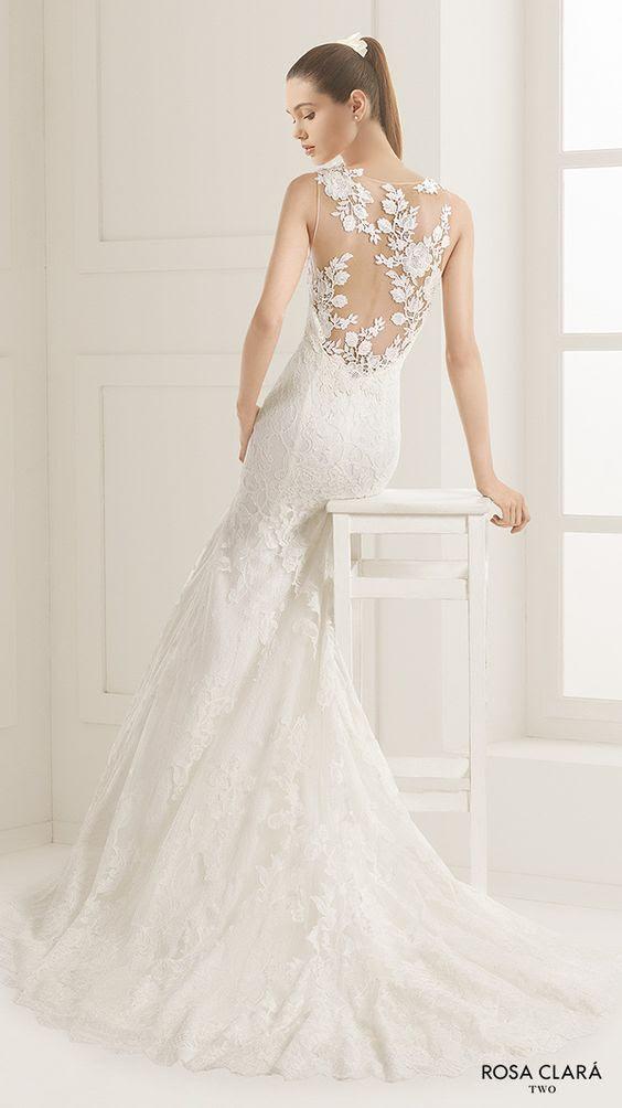 ärmelloses Spitze Meerjungfrau Hochzeitskleid mit illusion zurück und Spitzen-Applikationen auf Sie