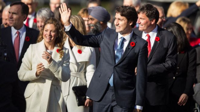 Trudeau and his wife Sophie Gregoire-Trudeau arrive at the ceremony