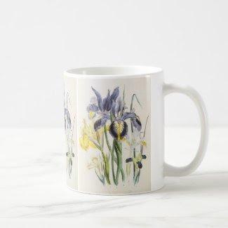 Vintage Flowers, Floral Botany, Garden Irises Mugs