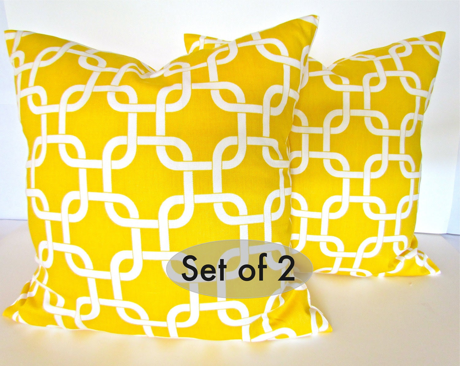 YELLOW PILLOWS SET Of 2 20x20 Decorative by SayItWithPillows